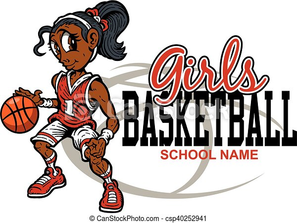 cute girls basketball team design for school college or eps rh canstockphoto ie girl basketball player clipart girls basketball clipart images