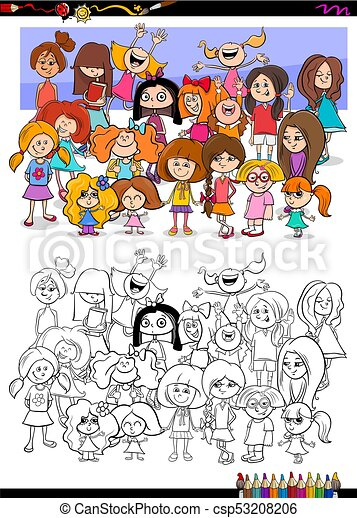 girls characters group coloring book