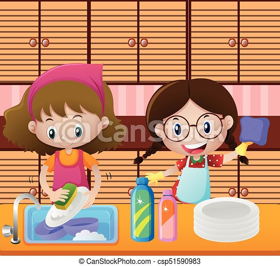 Girls Cleaning Dishes In Kitchen