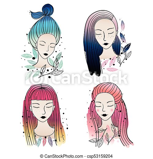 girls different hair colors and hairstyle vector illustration set