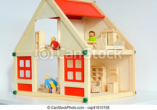 Girls Dollhouse Isolated On White Background
