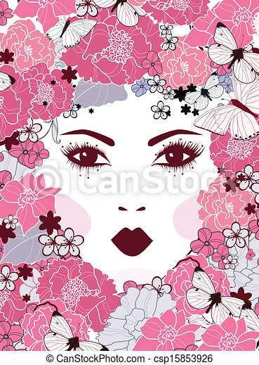 girl's face with flowers - csp15853926