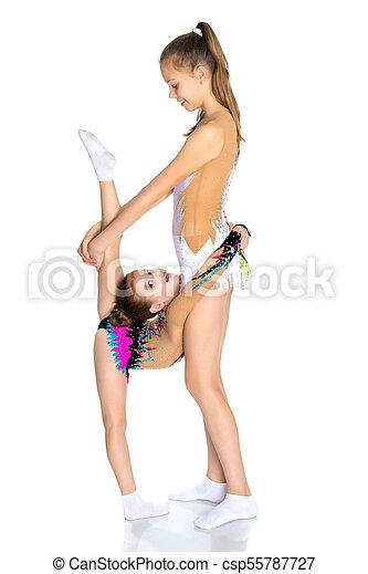 Girls gymnasts warm up
