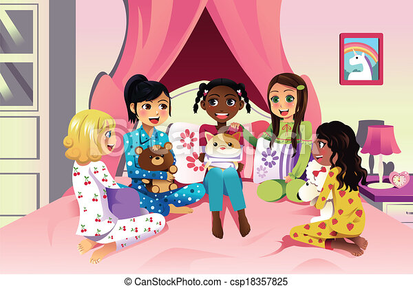 a vector illustration of multi ethnic girls having a vector rh canstockphoto com spa sleepover clipart clipart sleepover pictures