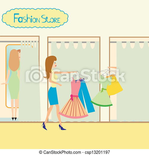 Girls In A Fitting Room Vector