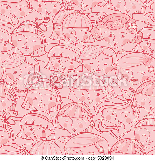 Girls in the crowd seamless pattern background - csp15023034