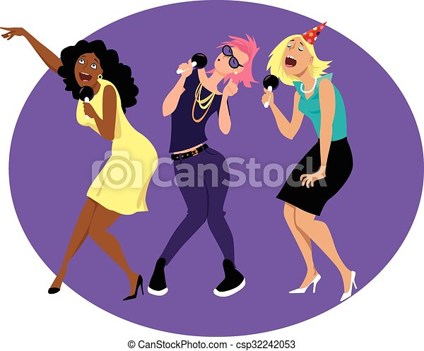 girls night out three young funny woman singing karaoke at rh canstockphoto com Girl Clip Art Girl Clip Art