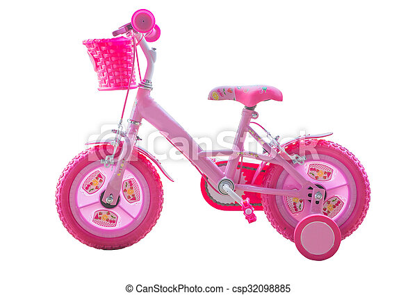 Girls pink bicycle - isolated - csp32098885