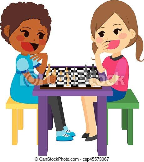 Girls Playing Chess - csp45573067