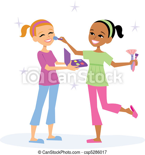 girls playing two girls playing with face painting rh canstockphoto com face painting clipart png face painting clip art for kids