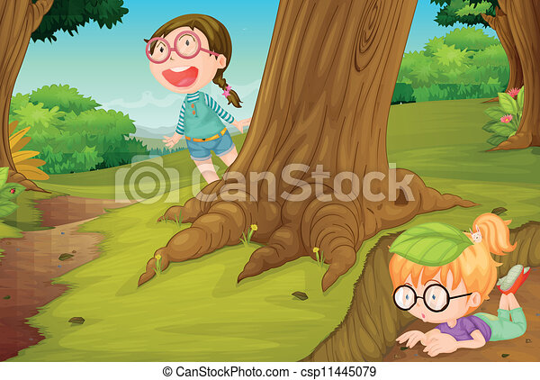 girls playing in nature - csp11445079