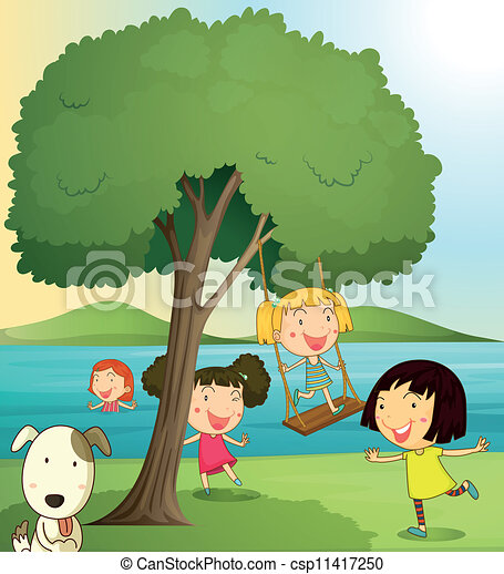 Illustration of girls playing under tree in a beautiful ...