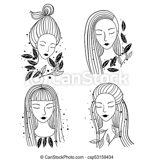 girls portraits different hairstyle set of an ink hand drawn girls