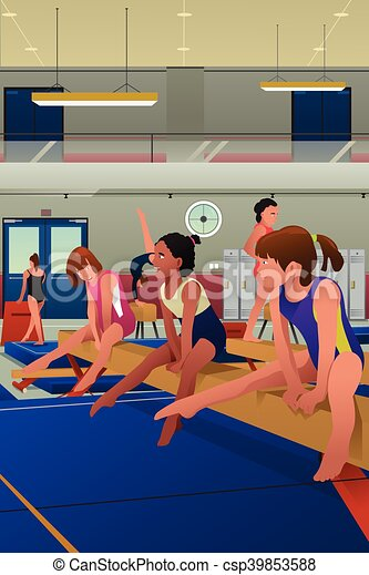 Girls Practicing Gymnastic