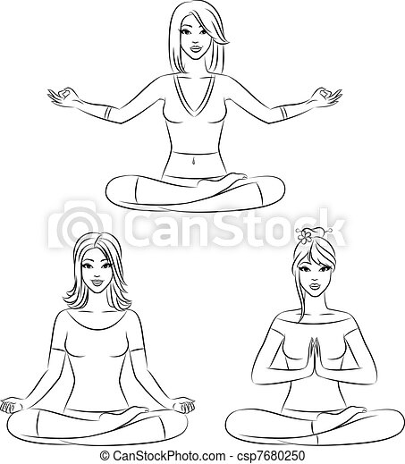 Beautiful girls sitting in yoga lotus position. vector ...