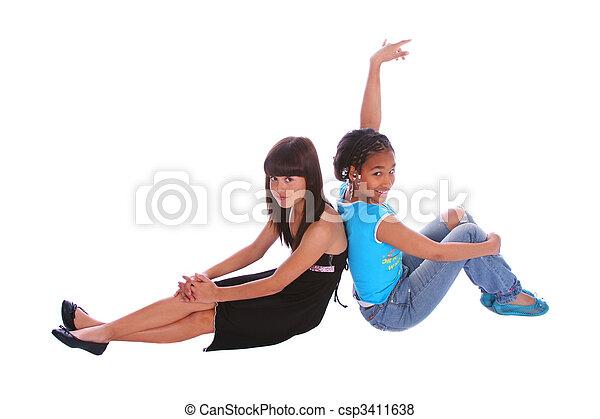 Girls Sitting Pose - csp3411638