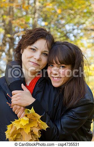 girls standing in autumn - csp4735531