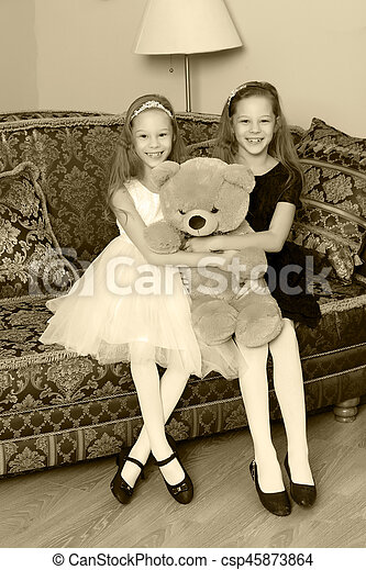 Brilliant Girls Twins With A Teddy Bear Squirreltailoven Fun Painted Chair Ideas Images Squirreltailovenorg