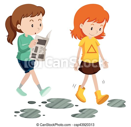 Girls walking with careless and careful steps illustration ...