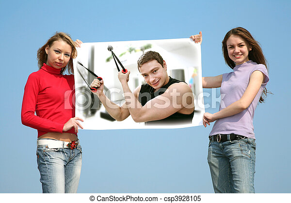 girls with card with man, collage - csp3928105