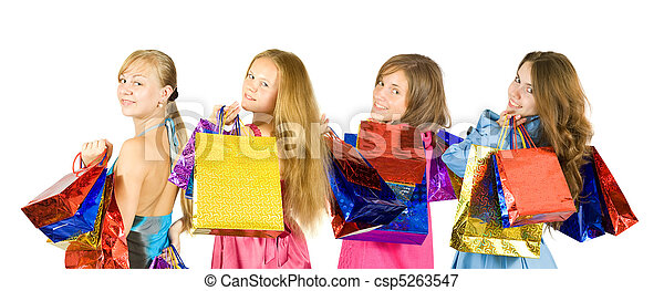 girls with shopping bags - csp5263547