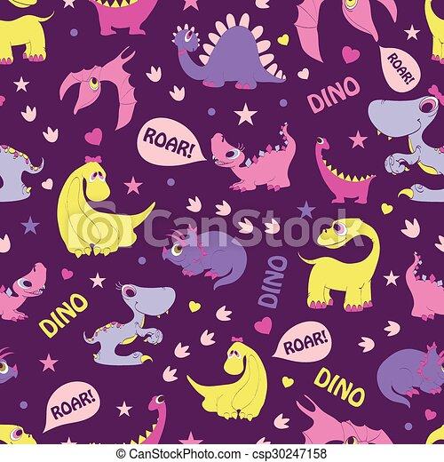 Girly Dinosaurs Roaring Seamless Pattern. Blue Tyrannosaurus, Pink Stegosaurus, Yellow Diplodocus - csp30247158