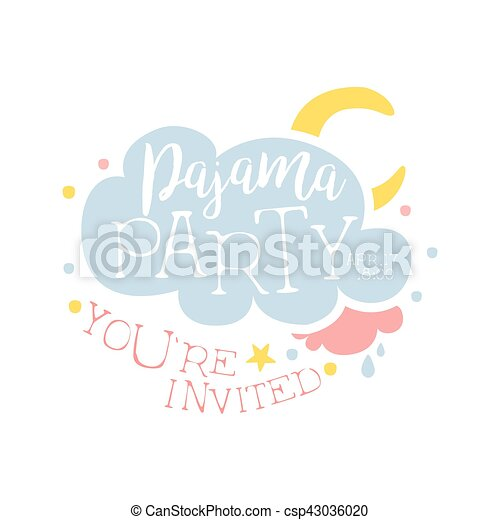 girly pajama party invitation card template with cloud and moon