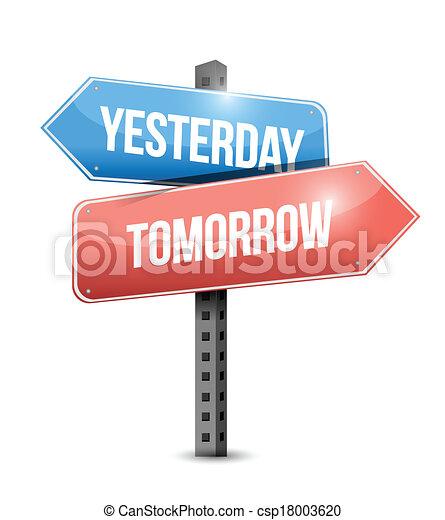 gisteren, ontwerp, morgen, illustratie, meldingsbord - csp18003620