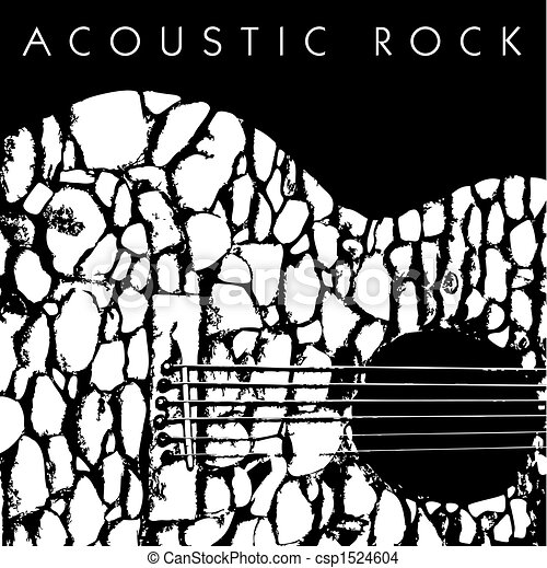 gitaar, akoestisch, gemaakt, stenen - csp1524604