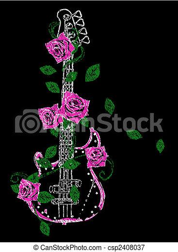 gitaar, roos, illustratie, rots - csp2408037