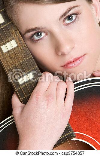 gitara, dziewczyna - csp3754857