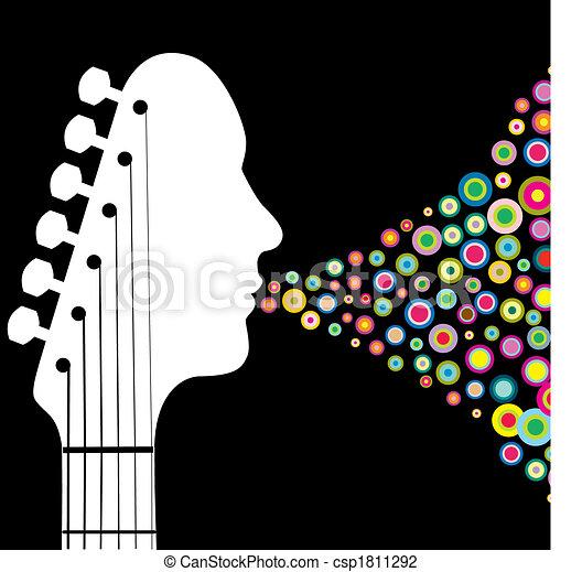 gitara, headstock, człowiek - csp1811292