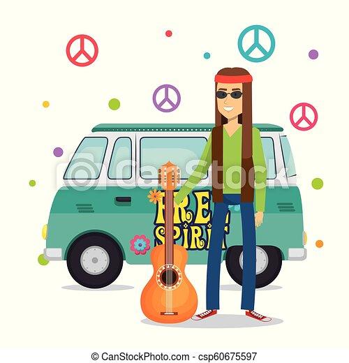 gitara, litera, styl życia, hipis, człowiek - csp60675597