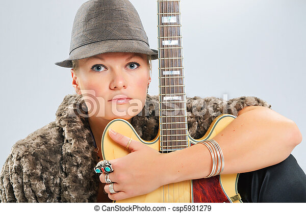 gitara, portret, dziewczyna - csp5931279