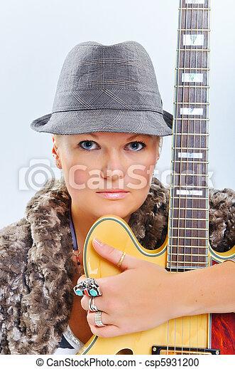 gitara, portret, dziewczyna - csp5931200