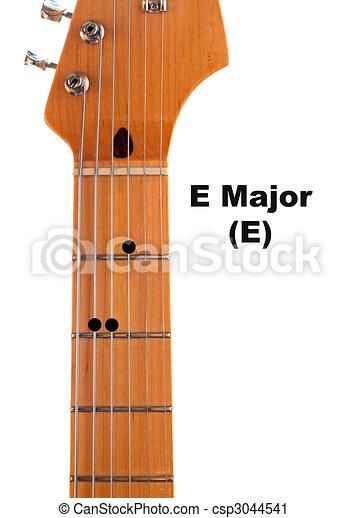 Gitarre, diagramm, major, akkord, e. Diagramm, major, e,... Clipart ...