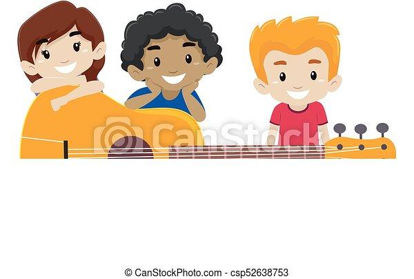 gitarre, hinten, kinder, hintergrund - csp52638753