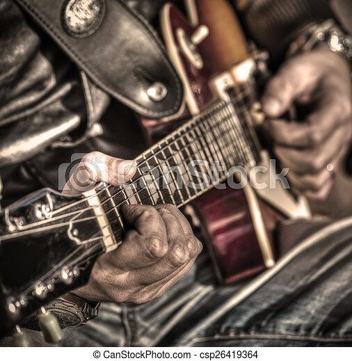 gitarre spieler, hdr - csp26419364