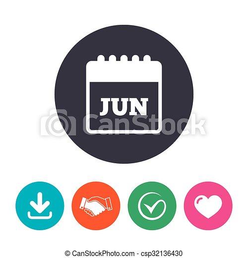 Calendario Mese Giugno.Giugno Simbolo Segno Calendario Mese Icon