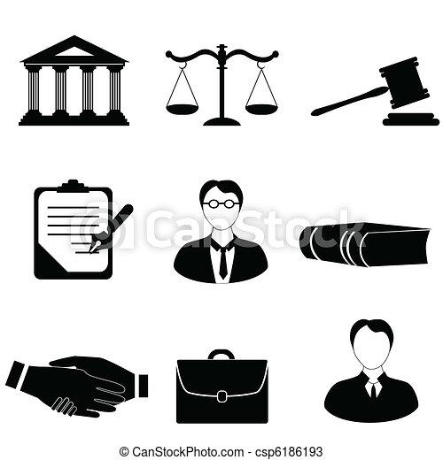 giustizia, legge, legale, icone - csp6186193
