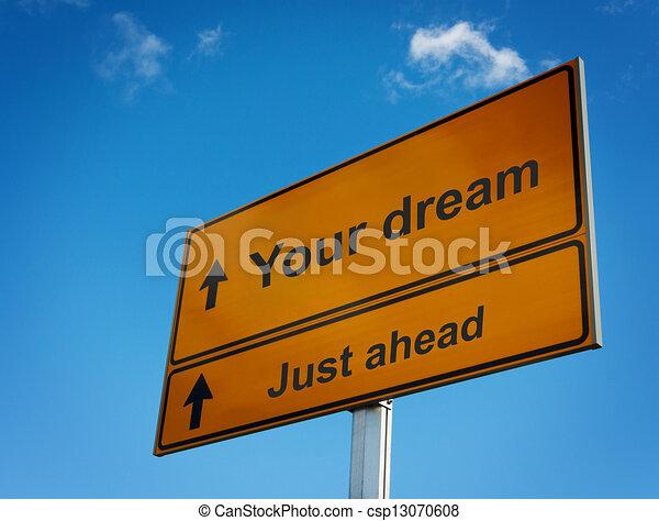 giusto, avanti, segno., sogno, tuo, strada - csp13070608