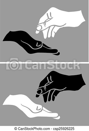 give and take white and black hand vector illustration vector rh canstockphoto com Helping Hands Symbols Clip Art giving hands vector art
