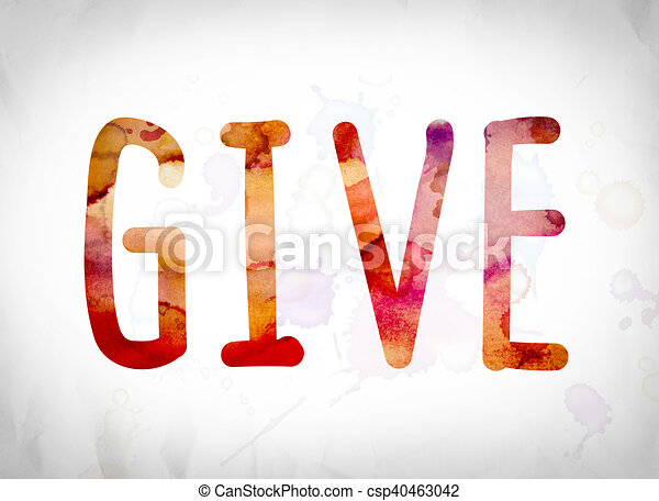 Give Concept Watercolor Word Art - csp40463042