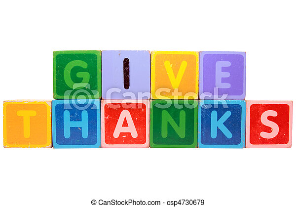 give thanks in toy block letters - csp4730679