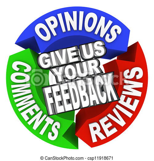 Give Us Your Feedback Arrow Words Comments Opinions Reviews - csp11918671