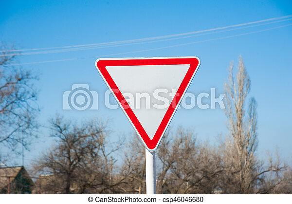 Give Way Road sign - csp46046680