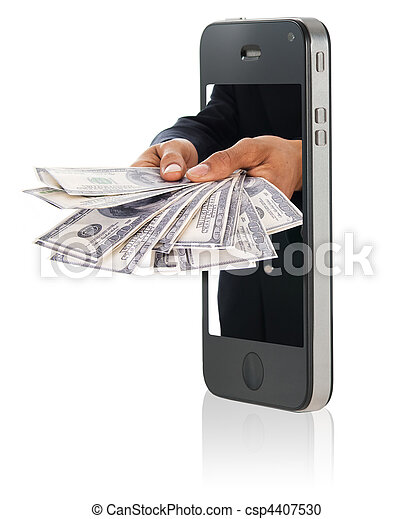 Giving money over smart phone - csp4407530