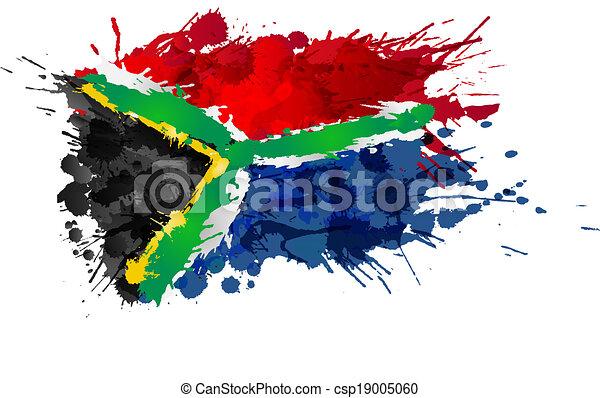 gjord, färgrik, flagga, stänk, afrikansk, syd - csp19005060