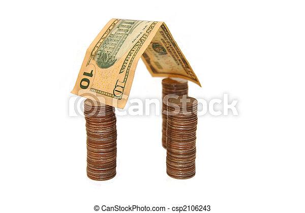 gjord, hus, isolerat, bakgrund, pengar, vit - csp2106243