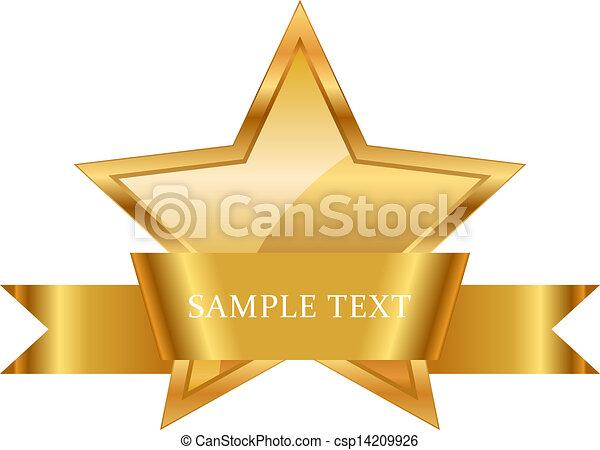 glänzend, geschenkband, stern, auszeichnung, gold - csp14209926